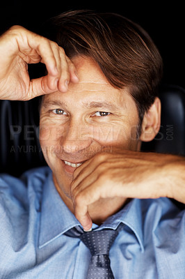 Buy stock photo Closeup portrait of successful young male entrepreneur smiling
