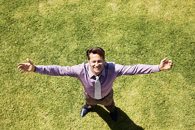 Buy stock photo Top view of a male business executive standing on grass with arms outstretched - Freedom! - and copyspace
