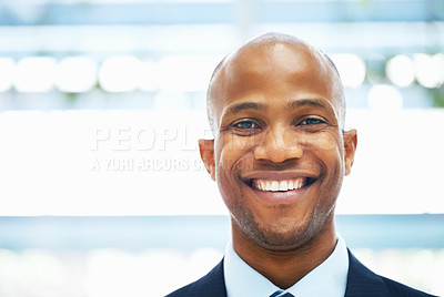 Buy stock photo Closeup of handsome man smiling
