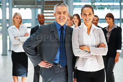 Buy stock photo Successful team with colleagues in background