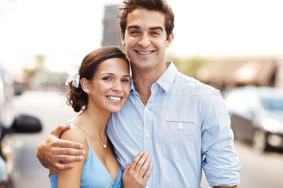 Buy stock photo Portrait of smiling young couple embrace outdoor