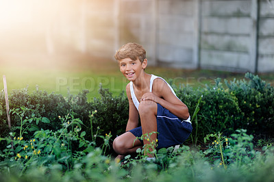 Buy stock photo Portrait of a young boy gardening outside