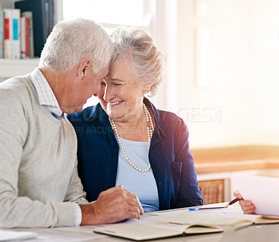 Buy stock photo Cropped shot of a senior couple together at home