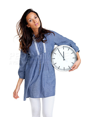 Buy stock photo Portrait of an pretty young girl holding a clock in hand against white background