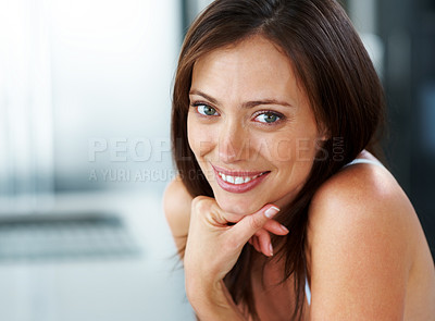 Buy stock photo Closeup portrait of a beautiful young woman looking confidently - Copyspace