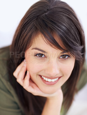 Buy stock photo Portrait of a cute young woman