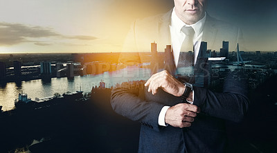 Buy stock photo Shot of an unrecognizable businessman superimposed over a cityscape