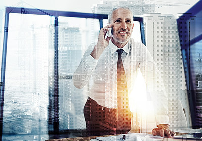 Buy stock photo Shot of a handsome mature businessman superimposed over a cityscape