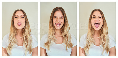 Buy stock photo Composite shot of a young woman making various facial expressions in studio