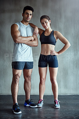 Buy stock photo Portrait of two young athletes standing in the gym