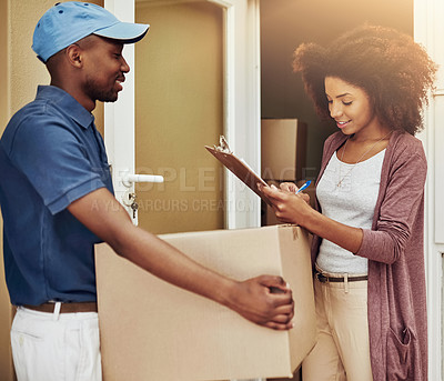 Buy stock photo Cropped shot of an attractive young woman signing for a home delivery
