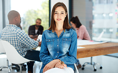 Buy stock photo Portrait of an attractive young woman sitting in the boardroom during a meeting