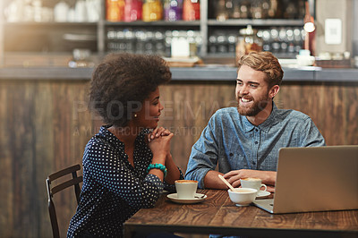Buy stock photo Cropped shot of a young couple on a coffee date