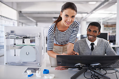 Buy stock photo Portrait of two colleagues working together with a touchscreen computer and a 3d printer