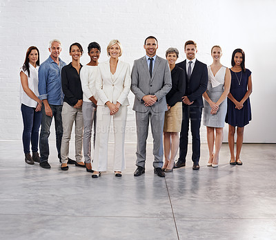 Buy stock photo Studio shot of a diverse group of people standing together