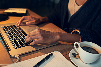Buy stock photo Closeup shot of a businesswoman working late on a laptop in an office