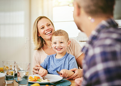Buy stock photo Shot of a happy family enjoying a meal together at home