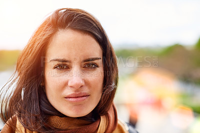 Buy stock photo Portrait of an attractive young woman out for a walk in Paris