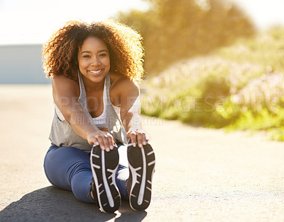 Buy stock photo Portrait of an attractive young woman warming up before her workout