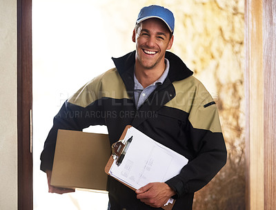 Buy stock photo Portrait of a courier delivering a package