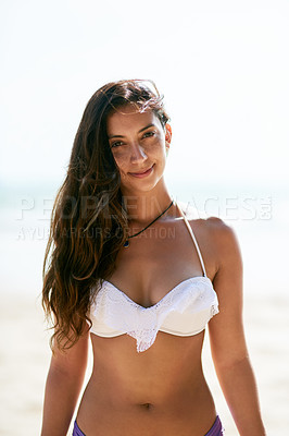Buy stock photo Closeup shot of a beautiful young woman posing on the beach