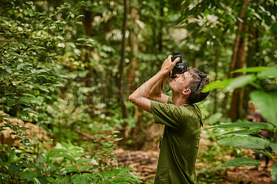 Buy stock photo Shot of a young photographer exploring a tropical jungle