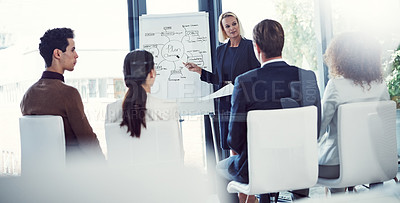 Buy stock photo Cropped shot of a businesswoman giving a presentation to her colleagues in an office