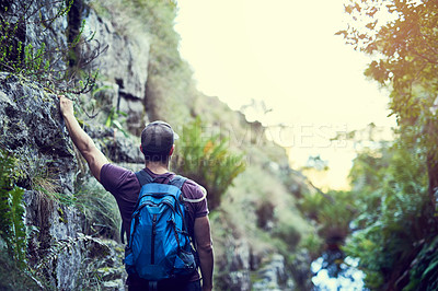 Buy stock photo Rearview shot of a young man exploring a hiking trail on his own