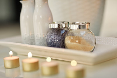 Buy stock photo Closeup shot of various pampering essentials in a spa