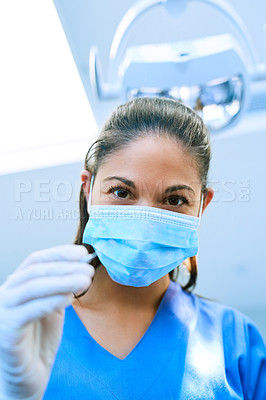 Buy stock photo POV shot of a patient getting a checkup at the dentist