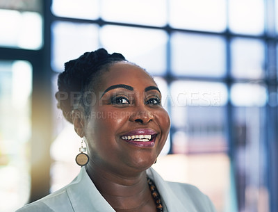 Buy stock photo Portrait of a happy businesswoman posing alone in the office