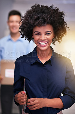 Buy stock photo Portrait of a happy delivery woman making a delivery to a businessman in his office