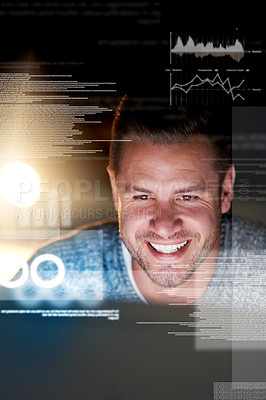 Buy stock photo Shot of a smiling computer programmer working at his computer late at night