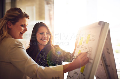 Buy stock photo Shot of two young colleagues brainstorming with mindmaps in the office