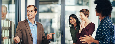 Buy stock photo Shot of colleagues having a brainstorming session with adhesive notes at work