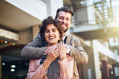 Buy stock photo Cropped shot of an affectionate couple standing outside