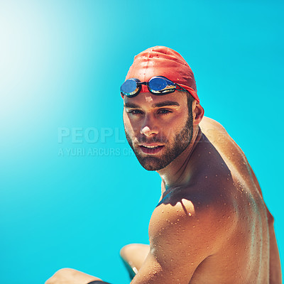 Buy stock photo Portrait of an athletic young man in swimwear sitting by the edge of a swimming pool