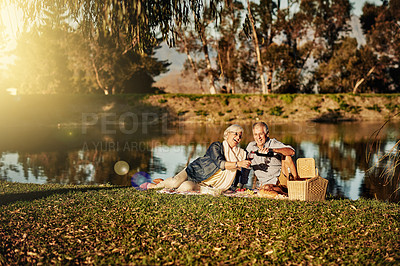 Buy stock photo Shot of a happy senior couple drinking wine while enjoying a picnic outside