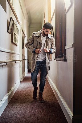 Buy stock photo Shot of a fashionable young man dressed in urban wear