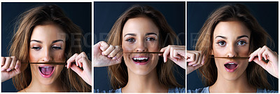 Buy stock photo Multiple image shot of a cute teenage girl making a mustache with her hair against a dark background
