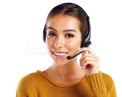 Buy stock photo Cropped shot of a call center agent posing against a white background