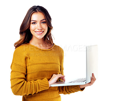 Buy stock photo Studio shot of a young woman against a white background