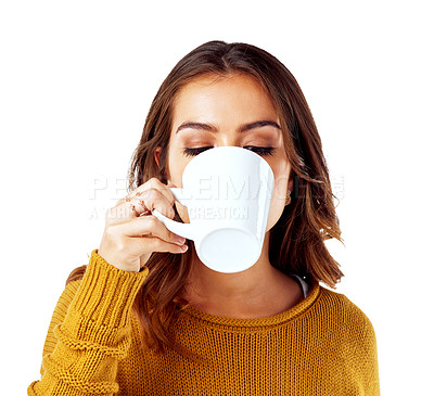 Buy stock photo Studio shot of a woman drinking coffee against a white background