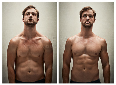 Buy stock photo Before and after studio shot of a shirtless young man working on his physique