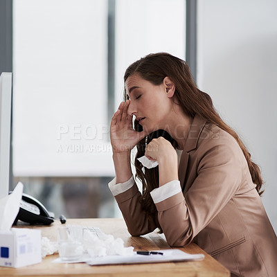 Buy stock photo Shot of a young businesswoman feeling unwell at work
