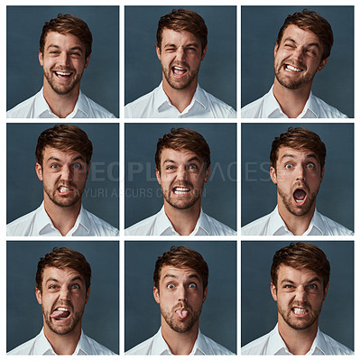 Buy stock photo Composite shot of a handsome young man making various facial expressions against a dark background