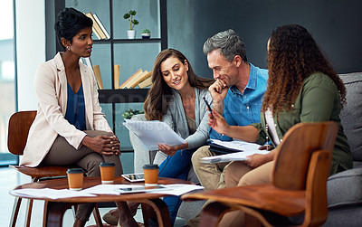 Buy stock photo Shot of a creative team meeting in the office