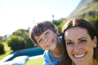 Buy stock photo Cropped shot of a single mother spending time with her son