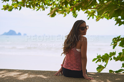 Buy stock photo Portrait of a happy young tourist  taking in an ocean view