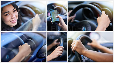 Buy stock photo Composite image of a young woman using a phone while driving and closeups of her hands holding the steering wheel